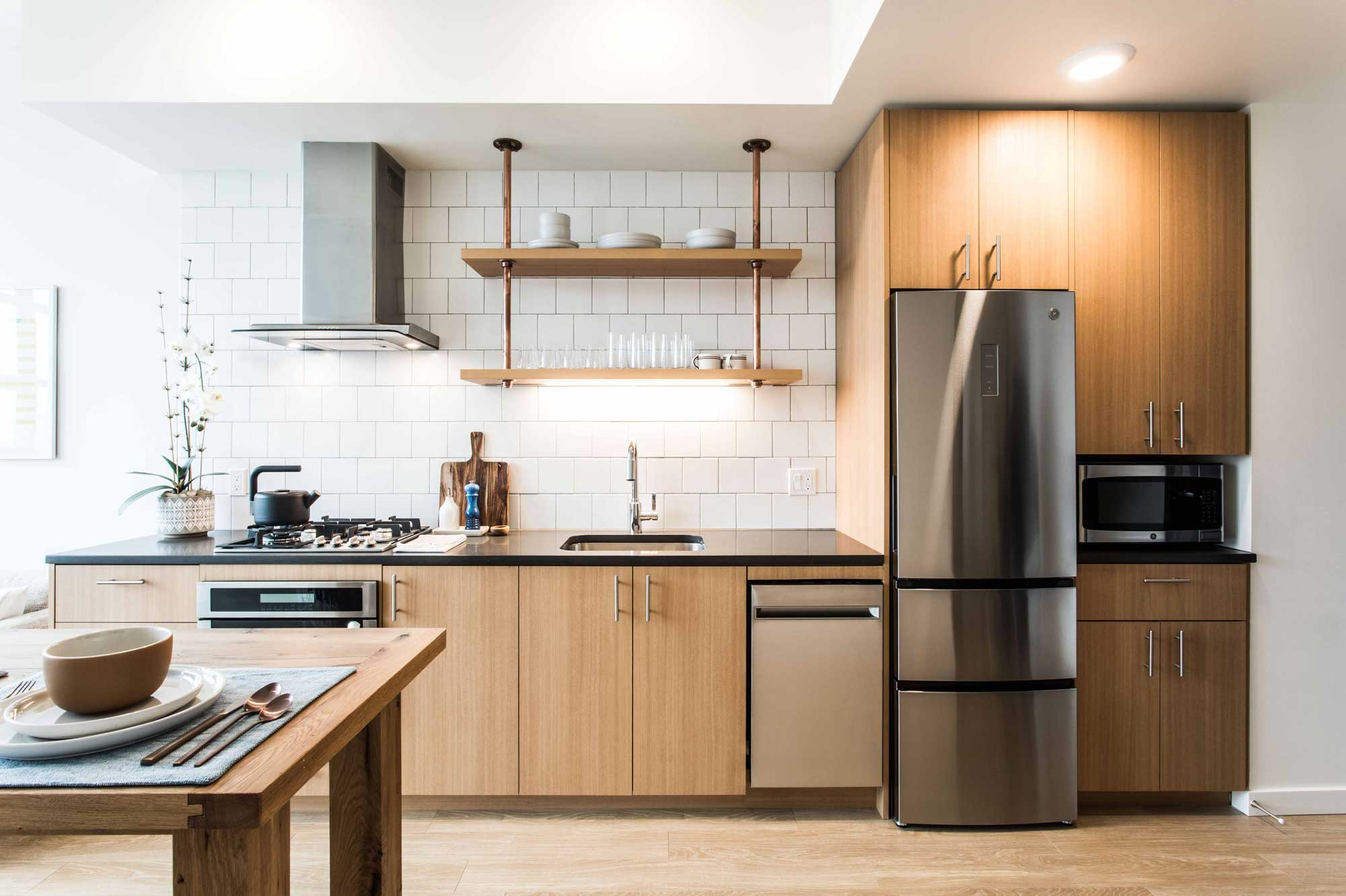 Contemporary kitchen at 230 Ash luxury apartments in downtown Portland