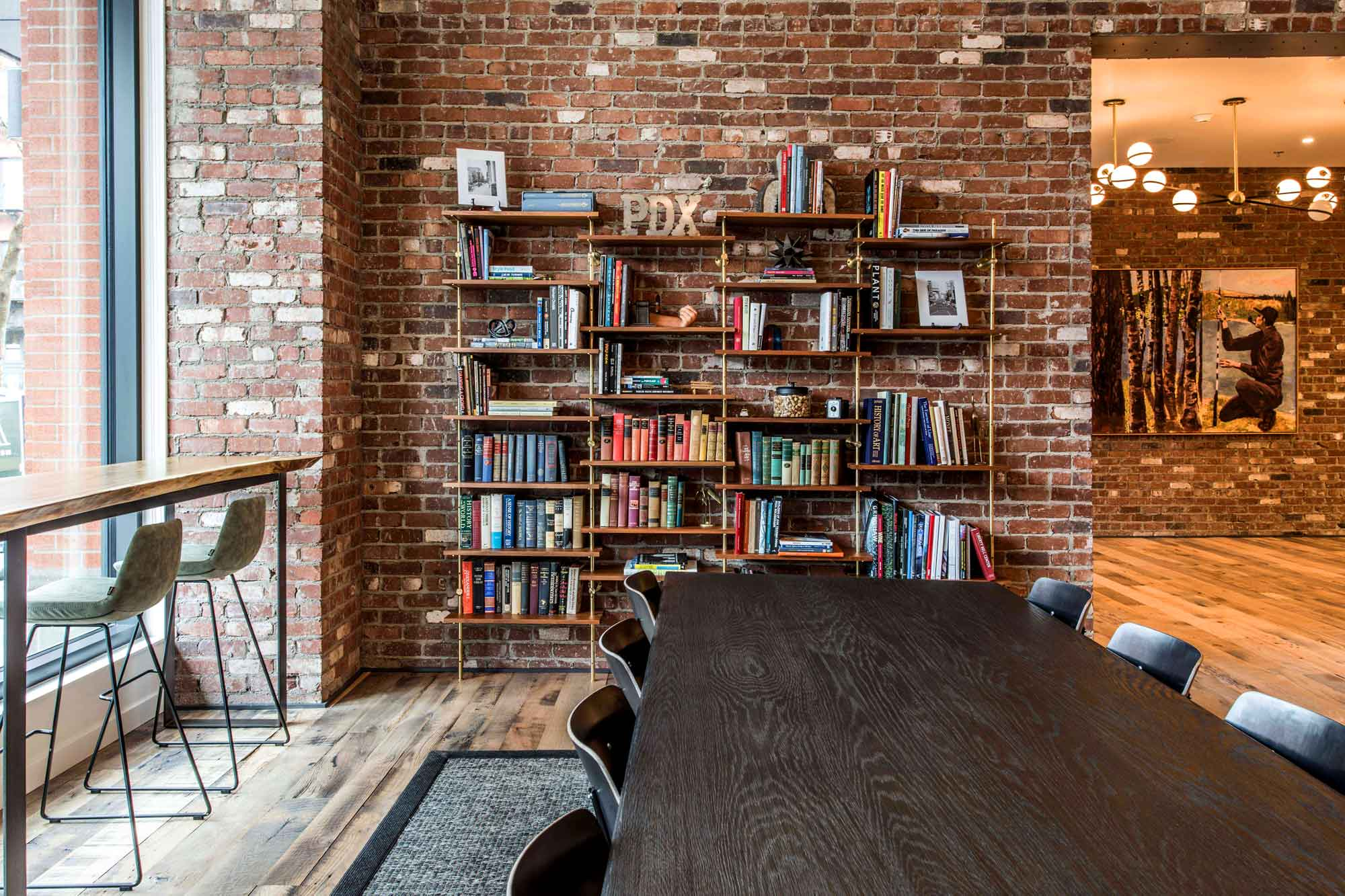 Rustic lobby with library